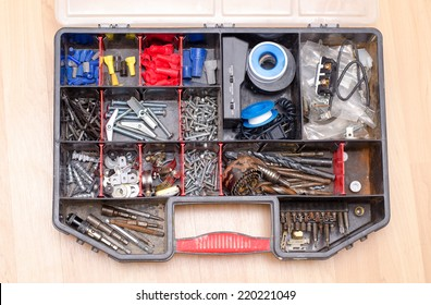 Home improvement hardware organizer, screws, drill bits, electrical, plumbing.