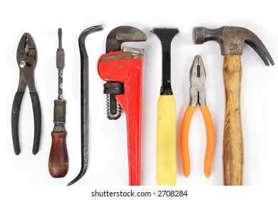 Home improvement tools, on white, for border or background
