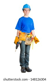 home improvement worker isolated on white