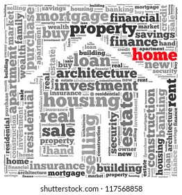 Home info-text graphics and arrangement concept on white background (word cloud)