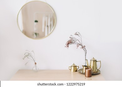 Home interior with decor element. Scandinavian minimal  interior. Interior design elements. Flat lay, top view