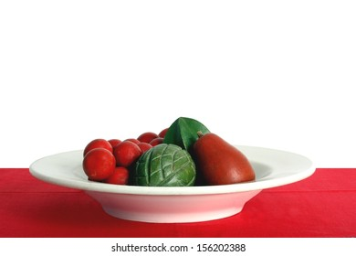 Home Interior Design Still Life in Red and Green Christmas Colors A Bowl of Fruit and Vegetables