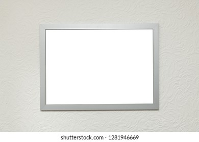Home interior empty poster frame mock up isolated on a textured white background
