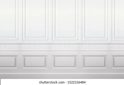 Home Interior of Empty Room with White Wall Decorated with Panelling