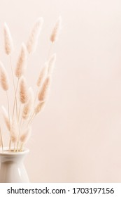 Home interior floral decor. Dried flowers, spikelets in vase on beige background. - Shutterstock ID 1703197156