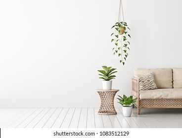 Home interior mock up with wicker rattan sofa, beige pillows and green plants in living room with empty white wall. 3D rendering.