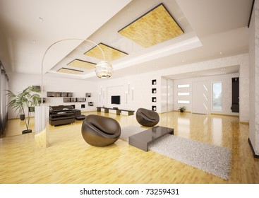 Home interior of modern apartment living room hall 3d render