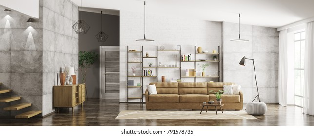 Home interior of modern apartment, living room, hall panorama 3d rendering