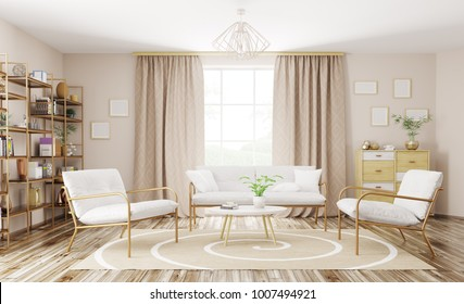Home interior of modern living room with sofa and armchairs 3d rendering