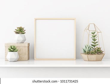 Home interior poster mock up with square gold metal frame and succulents on white wall background. 3D rendering.