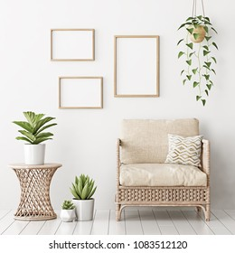 Home interior poster mock up with three empty wooden frames, wicker rattan armchair and plants in living room with white wall. 3D rendering.