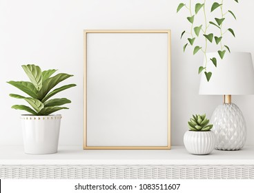 Home interior poster mock up with vertical metal frame, plants in pots and lamp on white wall background. 3D rendering.