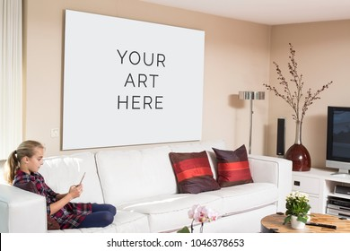 Home interior poster or painting canvas design template