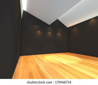 Home interior rendering with empty room black wall with Ceiling serration and decorated with wooden floors.