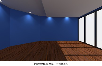 Home interior rendering with empty room Blue wall and decorated with wooden floors.