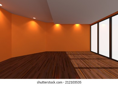 Home interior rendering with empty room Orange wall and decorated with wooden floors.