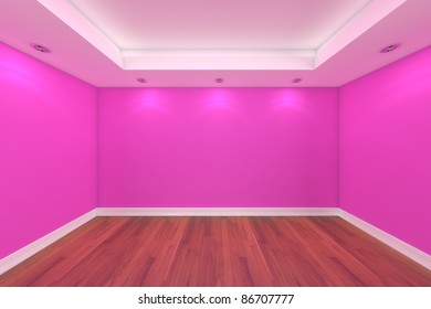 Home interior rendering with  empty room pink wall and  decorated with wooden floors.