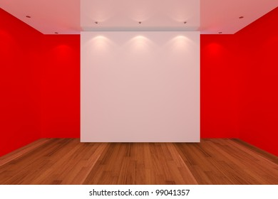 Home interior rendering with empty room red color wall and wood floor for AD.