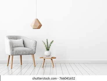 Home interior wall mock up with gray velvet armchair, cushion, hanging lamp and plant in vase on empty white background. 3D rendering.