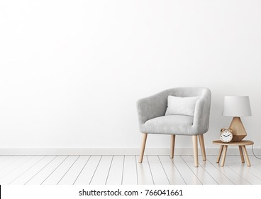 Home interior wall mock up with gray velvet armchair, cushion and lamp on empty white background. 3D rendering.