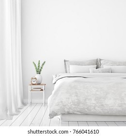 Home interior wall mock up with unmade bed, cushions, curtains, green plant and alarm clock in white bedroom. 3D rendering.