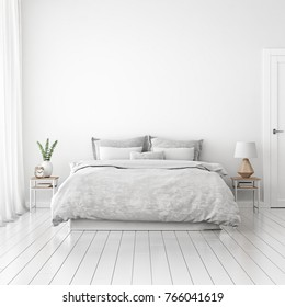 Home interior wall mock up with unmade bed, cushions, curtains and green plant in white bedroom. 3D rendering.