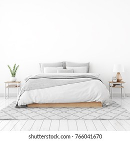Home interior wall mock up with unmade bed, plaid,cushions and plant in white bedroom. 3D rendering.