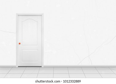 Home interior - White inside door in the orange handle in front of white wall background.