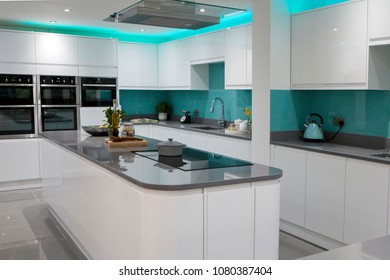 Home interior of white modern kitchen