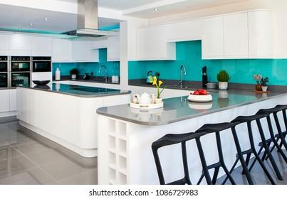 Home interior of white modern kitchen