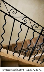 Home interior and wrought iron stair railing