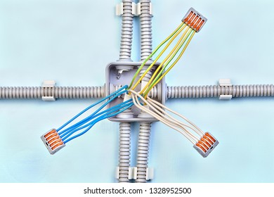 home junction box wiring with three groups of wires, connected with push  wire connector
