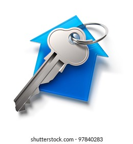 Home key with house keychain symbol