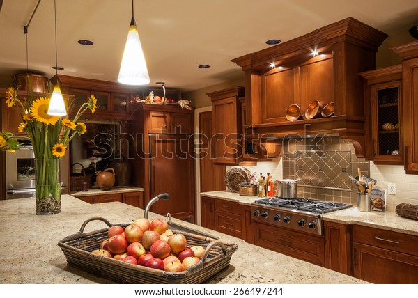 Home Kitchen Island Sink Cabinets Pendant Stock Photo Edit Now 266497244