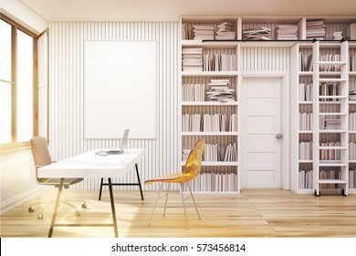 Home library with bookshelves by the sides of a door and a white table with computer. There are two chairs near it. 3d rendering. Mock up. Toned image.