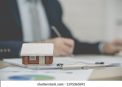 Home loan agreement important, Businessman real estate signing contract agreement.