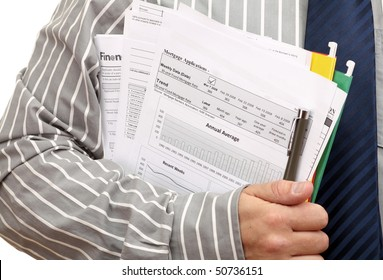 Home loan application form in hand of Agent