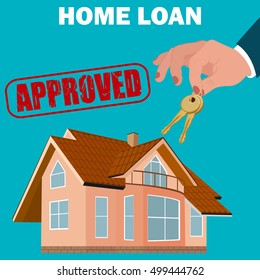 home loan approved concept, mortgage, flat design