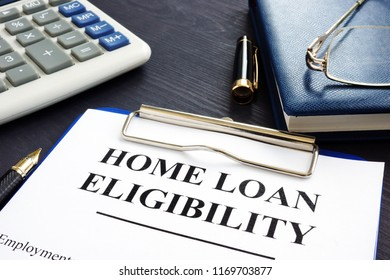 Home loan eligibility documents, money and glasses.