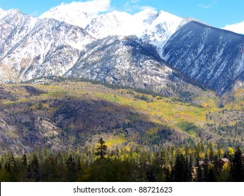 Home (lower right corner) nestled in the Colorado Rockies during Fall