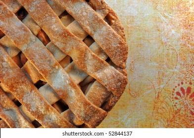 Home made apple pie with lattice top crust.