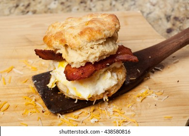 Home made bacon, egg, and cheese breakfast sandwich
