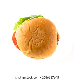Home Made Beef Hamburger on White Background.