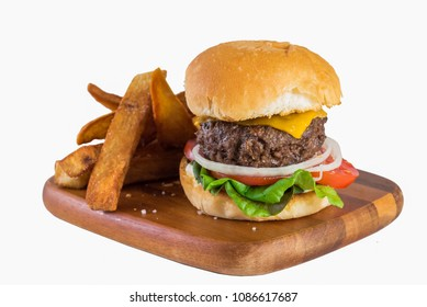 Home Made Beef Hamburger and Potato French Fries on white background.