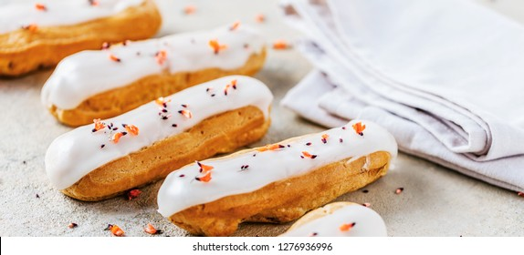 Home made cake eclairs. Traditional eclairs, profitroles classic, eclairs french.