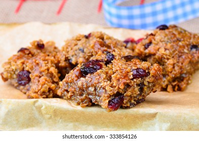 Home made cranberry flapjack