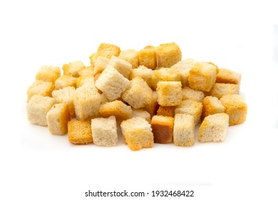 Home made Croutons on a white background