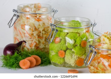 home made cultured vegetables in jars fermenting to be used as a probiotic food. Canned food concept