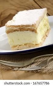 home made custard cake on a plate