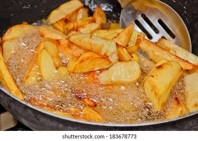 Home made deep fried chips.